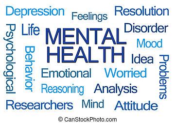 salud, palabra, mental, nube