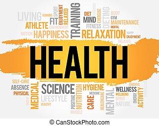 salud, palabra, nube