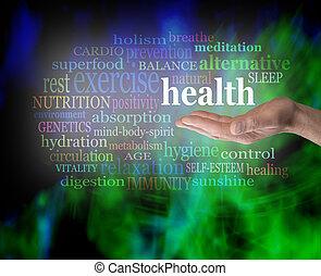 salud, palma, su, mano