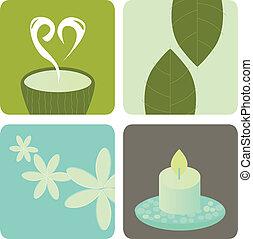 salud, paquete, relajación, icono