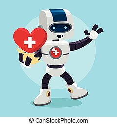 salud, robot, presentación, corazón