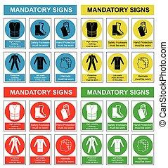salud, seguridad, colección, señal