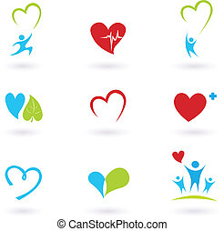 salud, y, iconos médicos, blanco