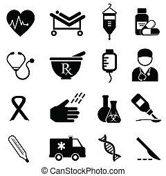 salud, y, iconos médicos