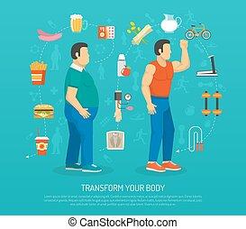 salud, y, obesidad, ilustración