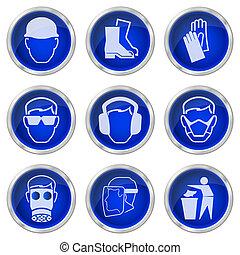 salud y seguridad, botones