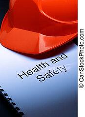 salud y seguridad, con, casco