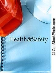 salud y seguridad, con, cascos