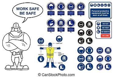 salud y seguridad, iconos, y, señales