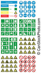 salud, y, seguridad, peligro, señales