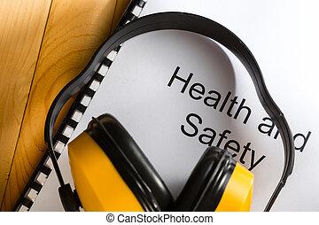 salud y seguridad, registro, con, audífonos