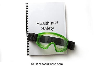 salud y seguridad, registro, con, gafas de protección