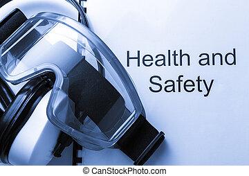 salud y seguridad, registro, con, gafas de protección, y,...