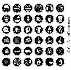 salud y seguridad, y, peligro, icono