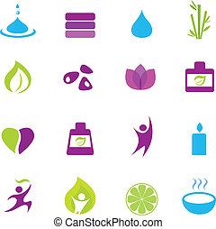 salud, zen, agua, iconos