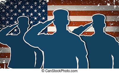 saludar, soldados, bandera, nosotros ejército