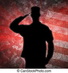 saludar, soldier's, silueta, en, un, ejército, camuflaje,...
