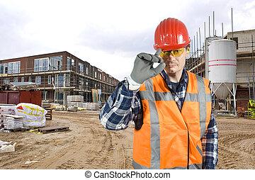 saludar, trabajador construcción
