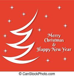 saludo, árbol, card., rojo, navidad