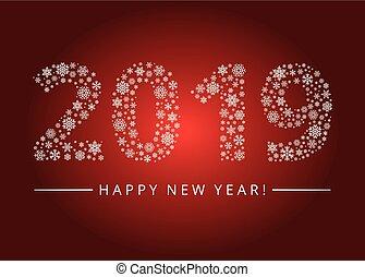 saludo, 2019, año, nuevo, tarjeta, feliz