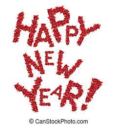 saludo, aislado, año, nuevo, flores blancas, navidad, rojo,...