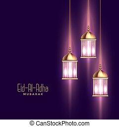 saludo, al, adha, eid, fiesta, plano de fondo, deseos, brillante