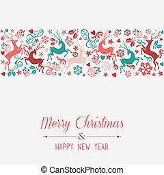 saludo, alegre, año, nuevo, tarjeta de navidad, feliz