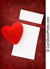 saludo, amor, tarjeta, en, fondo rojo