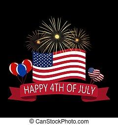 saludo, bandera, ilustración, america., cinta, independence...