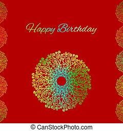 saludo, cumpleaños, rojo, plantilla, tarjeta, feliz