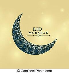 saludo, diseño, decorativo, fiesta, tarjeta, luna, eid