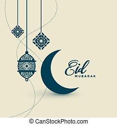 saludo, fiesta, mubarak, luna, linternas, eid