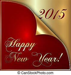 saludo, ilustración, vector, año, 2015, esquina, nuevo,...