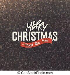 saludo, mano, fondo., diseño, retro, alegre, dibujado, tarjeta de navidad