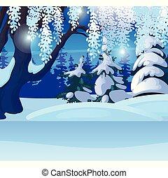 saludo, navidad, ilustración, o, bosquejo, vector, árbol, ...