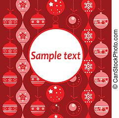 saludo, navidad, tarjeta, rojo