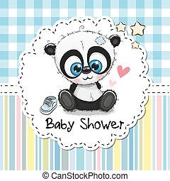 saludo, panda, ducha, bebé, caricatura, tarjeta