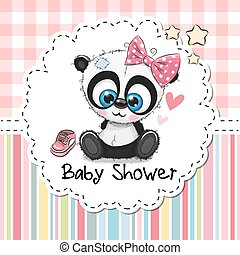 saludo, panda, ducha, nena, caricatura, tarjeta