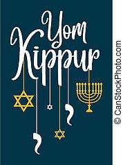 saludo, plano de fondo, plantilla, logotipo, o, kippur, yom...