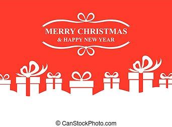saludo, regalos, fondo rojo, tarjeta de navidad