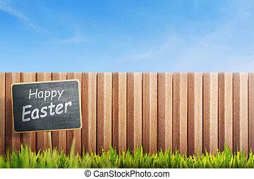 saludo, señal, negro, tabla, pasto o césped, Pascua, feliz