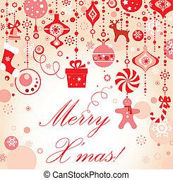 saludo, tarjeta de navidad, rojo