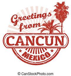 saludos, de, cancun, estampilla