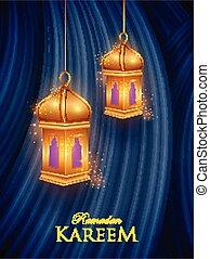 saludos, kareem, eid, ramadan, plano de fondo, celebración