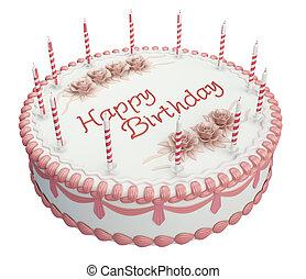 saludos, torta de cumpleaños, con, velas, y, rosas