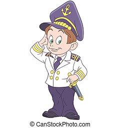saluer, capitaine, marin, dessin animé