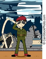 saluer, dessin animé, soldat