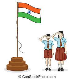 saluer, drapeau, indien, inde, étudiant