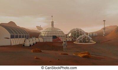 saluer, exploration, mission, espace, colonie, mars., astronaute, explorer, colonisation, américain, futuriste, flag., concept.