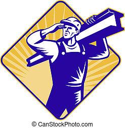 salut, i-beam, construction, porter, ouvrier